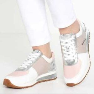 New Michael Kors Allie Trainers pink silver 8